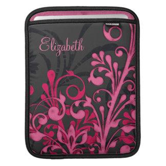 Manga personalizada floral negra rosada del carrit