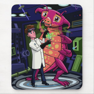 Manga Professor With Nice Pink Monster Experiment Mouse Pad