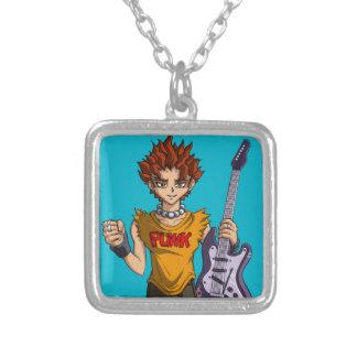 Manga Punk Guitar Player Square Pendant Necklace