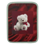 Manga roja del carrito del oso de peluche del blan fundas para iPads