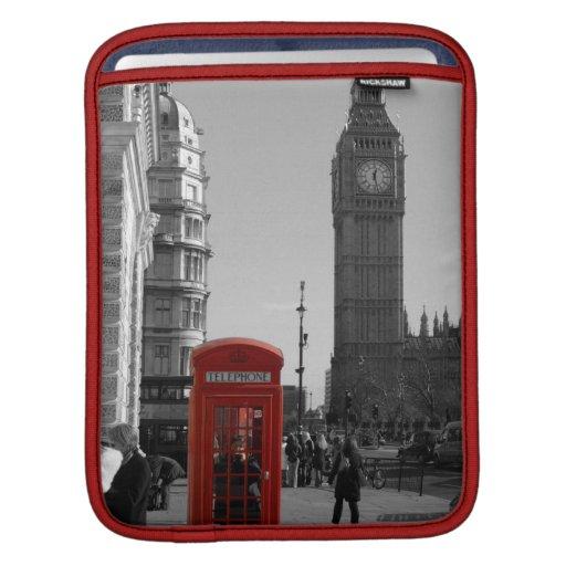 Manga roja del iPad de la cabina de teléfonos de L Funda Para iPads