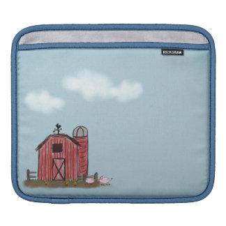 Manga roja del iPad de la granja del granero Funda Para iPads