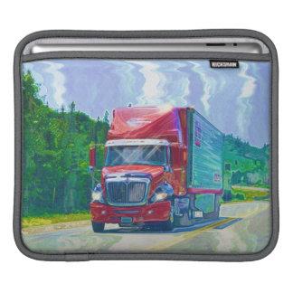 Manga roja del iPad de los conductores de camión d Fundas Para iPads