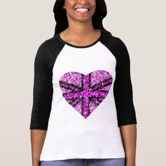 Manga rosada BRITÁNICA del negro 3 4 del corazón d Camiseta