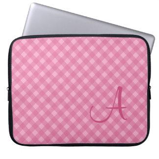 Manga rosada con monograma del ordenador portátil  funda portátil