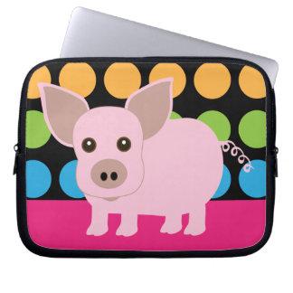 Manga rosada del ordenador portátil del cerdo fundas computadoras