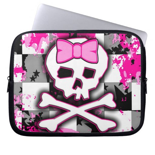 Manga rosada del ordenador portátil del chica de l funda portátil