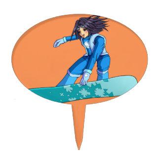 Manga Snowboarder Girl Cake Picks