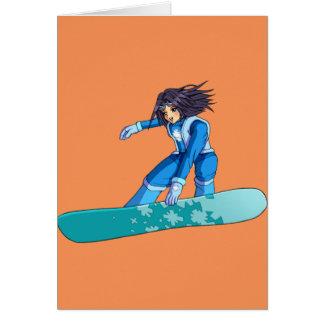 Manga Snowboarder Girl Card