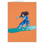 Manga Snowboarder Girl Greeting Cards