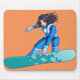 Manga Snowboarder Girl Mouse Pad
