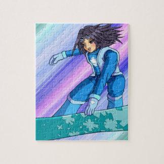 Manga Snowboarder Girl Jigsaw Puzzles