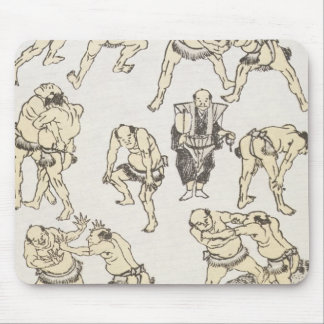 Manga: studies of gestures and postures of wrestle mouse pad
