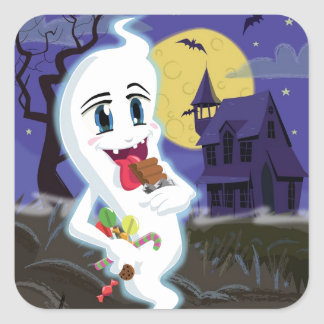 Manga Sweet Ghost at Halloween Square Stickers