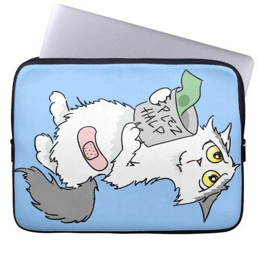 Manga triste linda del ordenador portátil del gato funda portátil