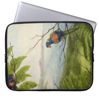 Manga tropical del ordenador portátil del loro funda portátil