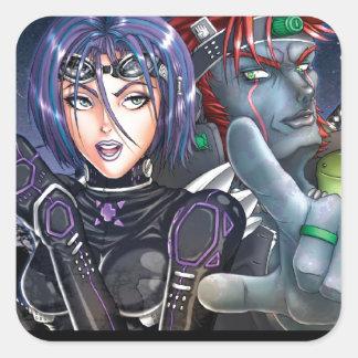 Manga Warriors Square Stickers