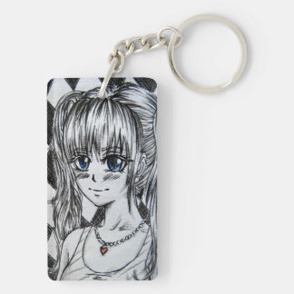 Mangamädchen with blue eyes and red heart chain keychain