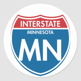 Manganeso de un estado a otro de Minnesota Pegatina Redonda
