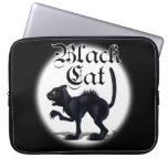 Mangas del ordenador portátil del gato negro funda portátil