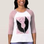 Mangas negras del rosa del ala camisetas