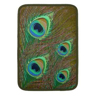 Mangas verdes decorativas de la pluma del pavo fundas para macbook air