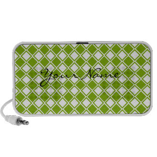 Mangas verdes y blancas y electrónica del diamante iPod altavoz