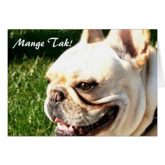 Mange Tak Thank you French bulldog greeting card