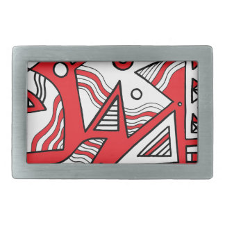 Mangels Abstract Expression Red White Black Belt Buckles