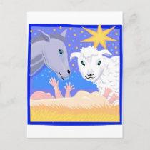 Manger Christian artwork_3 Holiday Postcard