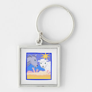 Manger Christian artwork_3 Silver-Colored Square Keychain