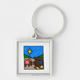 Manger Christian artwork_4 Silver-Colored Square Keychain