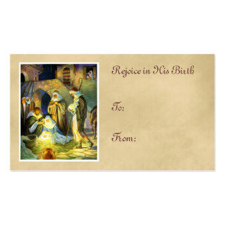 Manger Jesus Gift Tag Christmas Business Card Templates