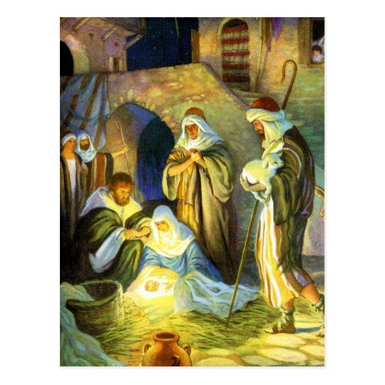 Manger Jesus Postcard Christmas