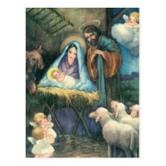 """Manger Scene """"O holy Night"""" postcard"""