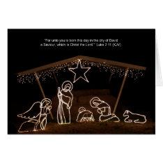 Manger Scene Religious Christian Christmas Card at Zazzle
