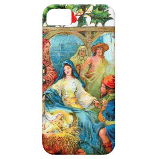 Manger scene with holly iPhone 5 cover