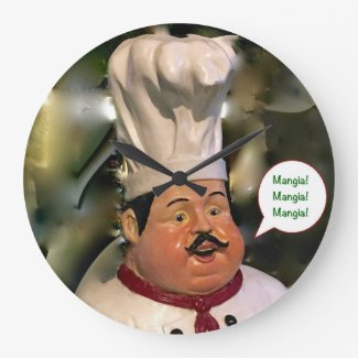 Mangia, Mangia, Mangia Kitchen Clock