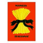 Mangia, tarjeta de nota de Italiana