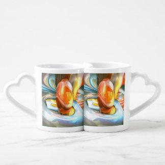 Mango and Cream Abstract Coffee Mug Set