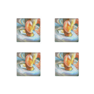 Mango and Cream Abstract Stone Magnet