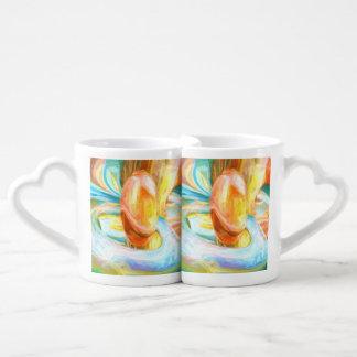 Mango and Cream Pastel Abstract Coffee Mug Set