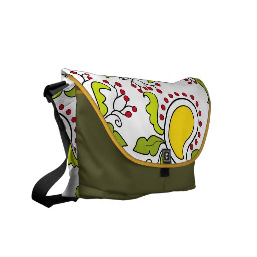 Mango and leaves paisley pattern courier bag