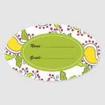 Mango and leaves paisley pattern oval sticker