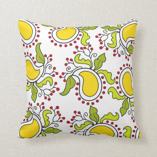 Mango and leaves paisley pattern throw pillows