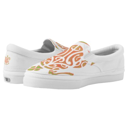 Mango and Lime Turtle Tattoo Slip-On Sneakers