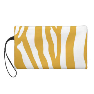Mango Color Animal Print Zebra Stripe Wristlet