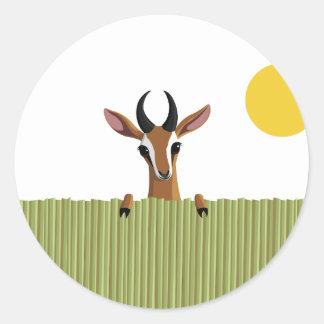 Mango el peekaboo del Gazelle Pegatina Redonda