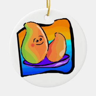 Mango feliz adorno redondo de cerámica