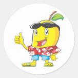 ¡Mango lindo en pulgares de la camisa hawaiana dos Pegatina Redonda